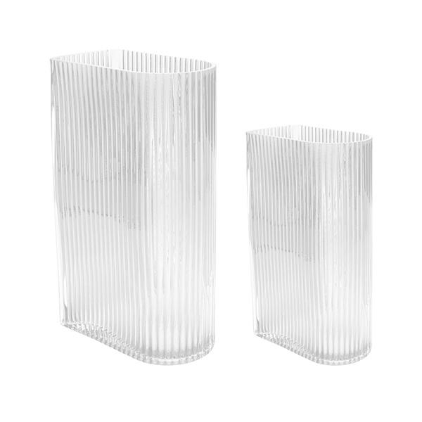 HKliving HK Living clear ribbed vases set of 2 - AGL4445