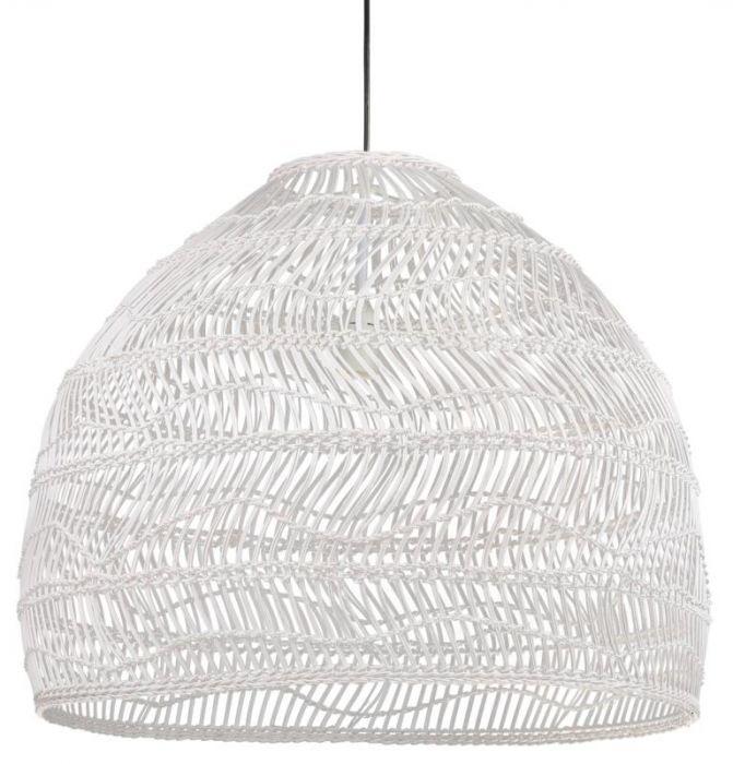 HKliving HK Living Handgevluchten wit rieten hanglamp wicker lamp ball white M - VOL5047