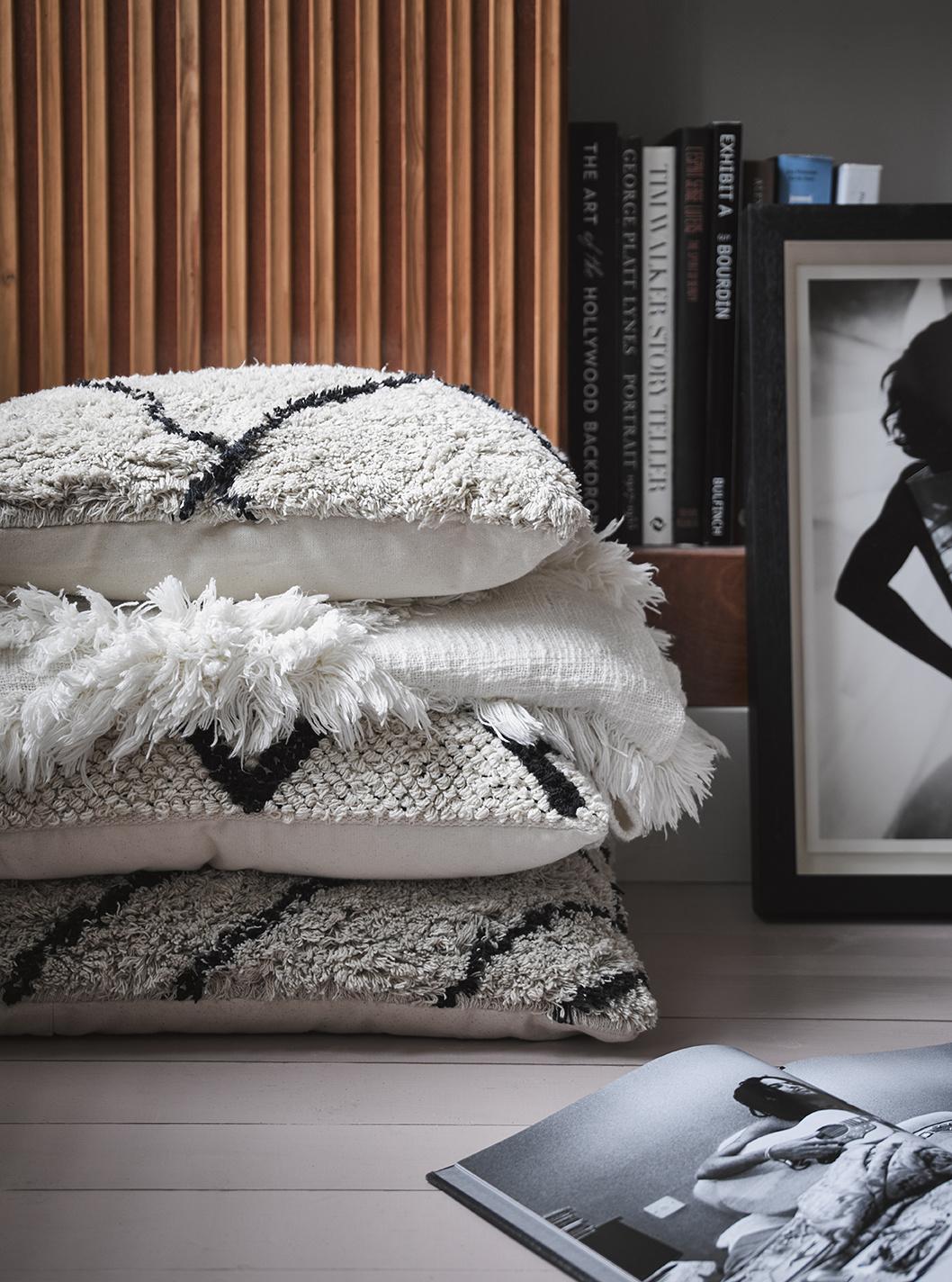 HKliving HKliving Kussen zigzag Zwart/crème 60x40 cm