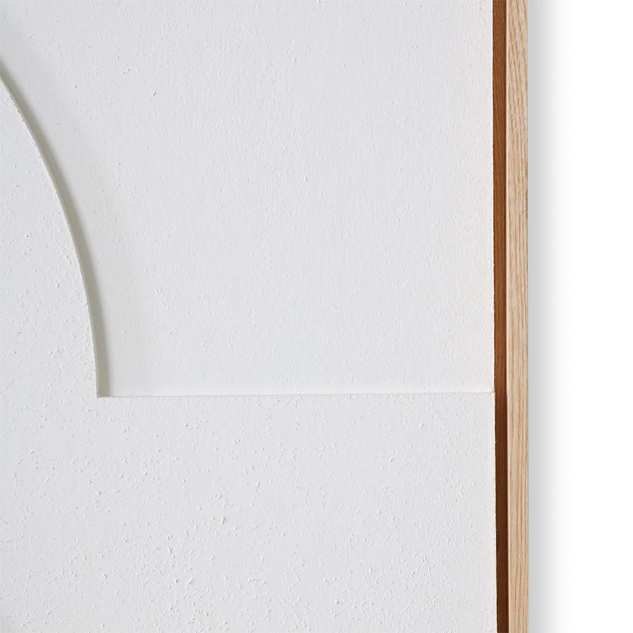HKliving HKliving ingelijst reliëf paneel wit A extra groot AWD8919