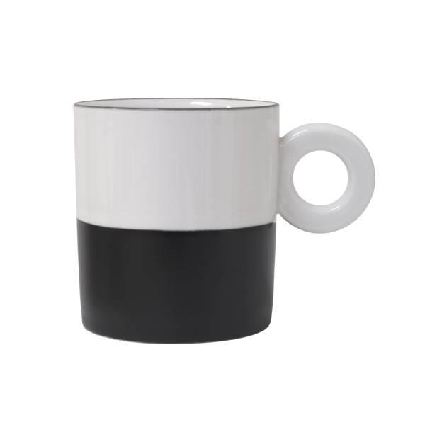 HKliving Witte porceleinen mok met mat zwarte dip