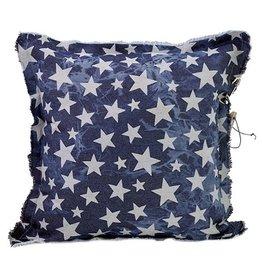 Stapelgoed Kussen Jeans sterren blauw