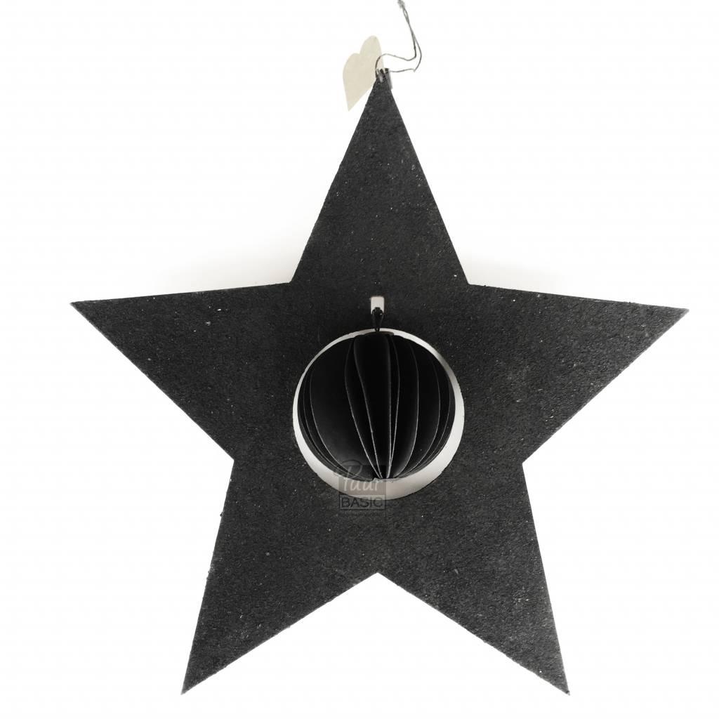 Bob design - Kerstster met bal papier - Zwart
