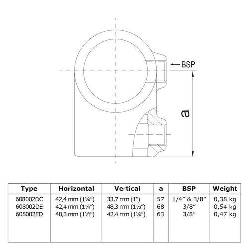 Buiskoppeling BUISKOPPELING 2V - Kort T-stuk verloop