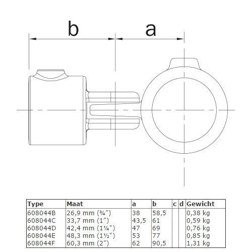 Buiskoppeling BUISKOPPELING 044 - Enkel scharnierstuk