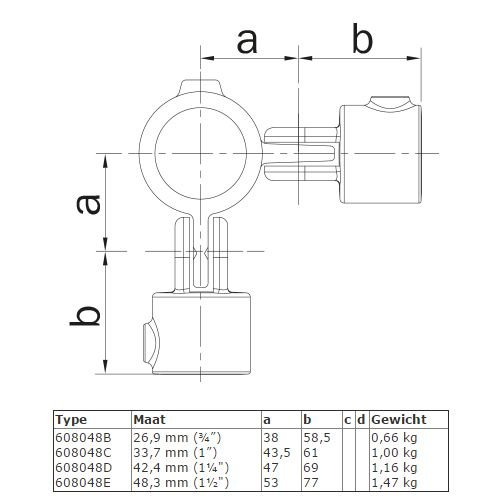 BUISKOPPELING 048 - Dubbel scharnierstuk 90 graden