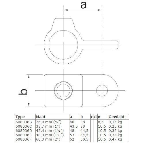 Buiskoppeling BUISKOPPELING 036 - Oogdeel scharnierstuk