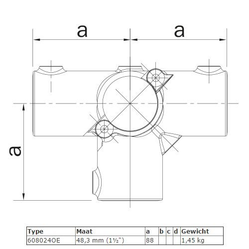 Buiskoppeling BUISKOPPELING 024 O - Openklapbaar T stuk met zij-uitgang