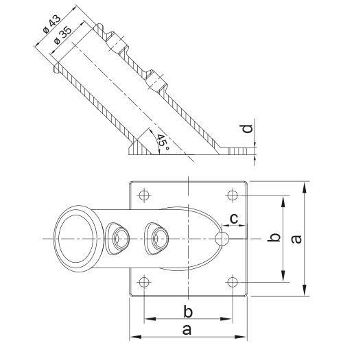 Buiskoppeling VLAGGESTOKHOUDER 33.7 mm