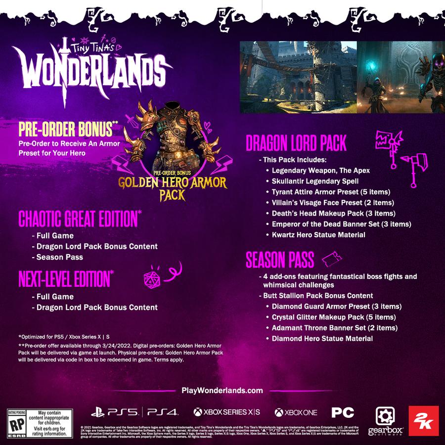 Tiny Tina's Wonderlands  + Pre-order DLC - Chaotic Great Edition -  Playstation 4