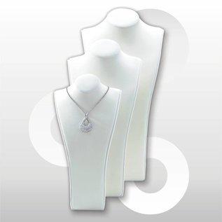 Juweliersdisplay in wit velvet H 36 cm