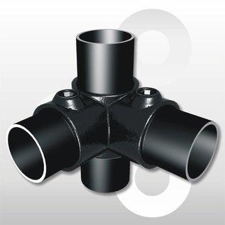 Hoek 2-weg voor buis Ø 33,7 mm zwart gecoat