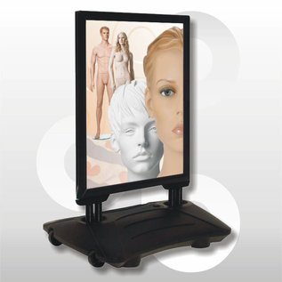 Stoepbord 70 x 100 cm met waterbak zwart