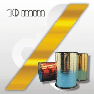 Hoogglans-goud krullint 10 mm breed 250 mtr.