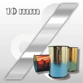 Hoogglans-zilver krullint 10 mm breed 250 mtr.