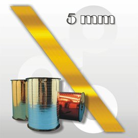 Hoogglans-goud krullint 5 mm breed 400 mtr.