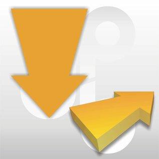 Kartonnen pijl fluor-oranje 15x10 cm