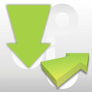 Kartonnen pijl fluor-groen 15x10 cm