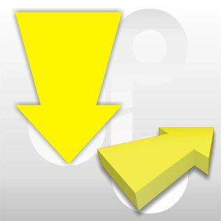 Kartonnen pijl fluor-geel 22x15 cm