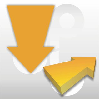 Kartonnen pijl fluor-oranje 22x15 cm