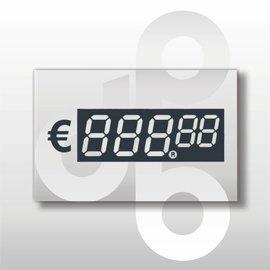 Digitale prijskaartjes tot € 1000 Transparant 39 mm hoog 100 stuks