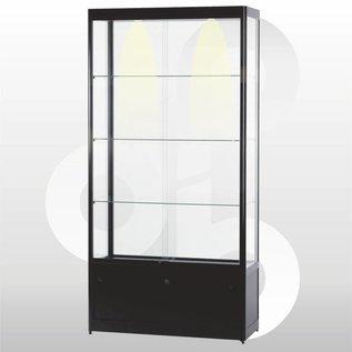 vitrinekast 100 x 40 met onderkast zwart