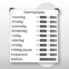 Openingstijdenbord wit/zwart 27x30cm inclusief 2 zuignappen