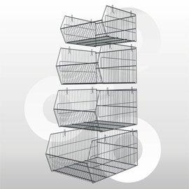 Stapelbare halve metermand 40 x 48 x 23 cm afwerking: zink