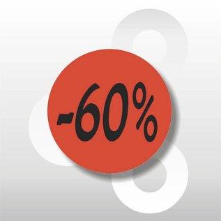 Etiket fluor rood  -60% 500/rol