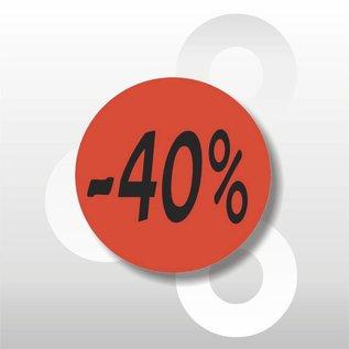 Etiket fluor rood  -40% 500/rol