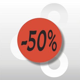 Etiket fluor rood  -50% 500/rol