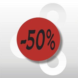 Etiket -50% 500 op rol rood