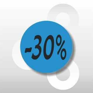 Etiket -30% 500 op rol blauw