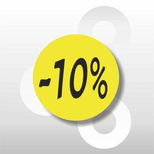 Etiket -10% 500 op rol geel