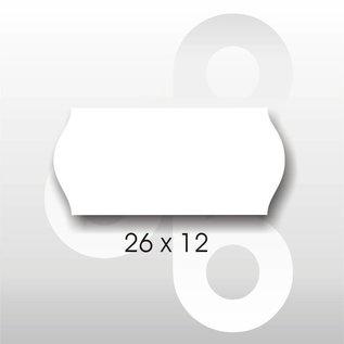 Etiket 26 x 12 mm golfrand wit  blitz c6/c8. AFNEEMBAAR
