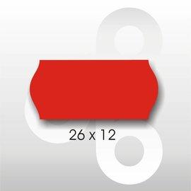Etiket 26 x 12 Fluor Rood PERMANENT. Blitz C6/C8 UNO enkelkops