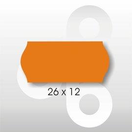 Etiket 26 x 12 Fluor Oranje PERMANENT. Blitz C6/C8 UNO enkelkops