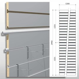 Strokenpaneel 2-delig Hoogte 240 cm