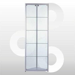 Hoekvitrine 50 x 200 geanodiseerd aluminium