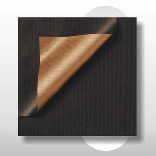 Dubbelzijdig kraftpapier zwart /brons 30 cm breed 200 mtr