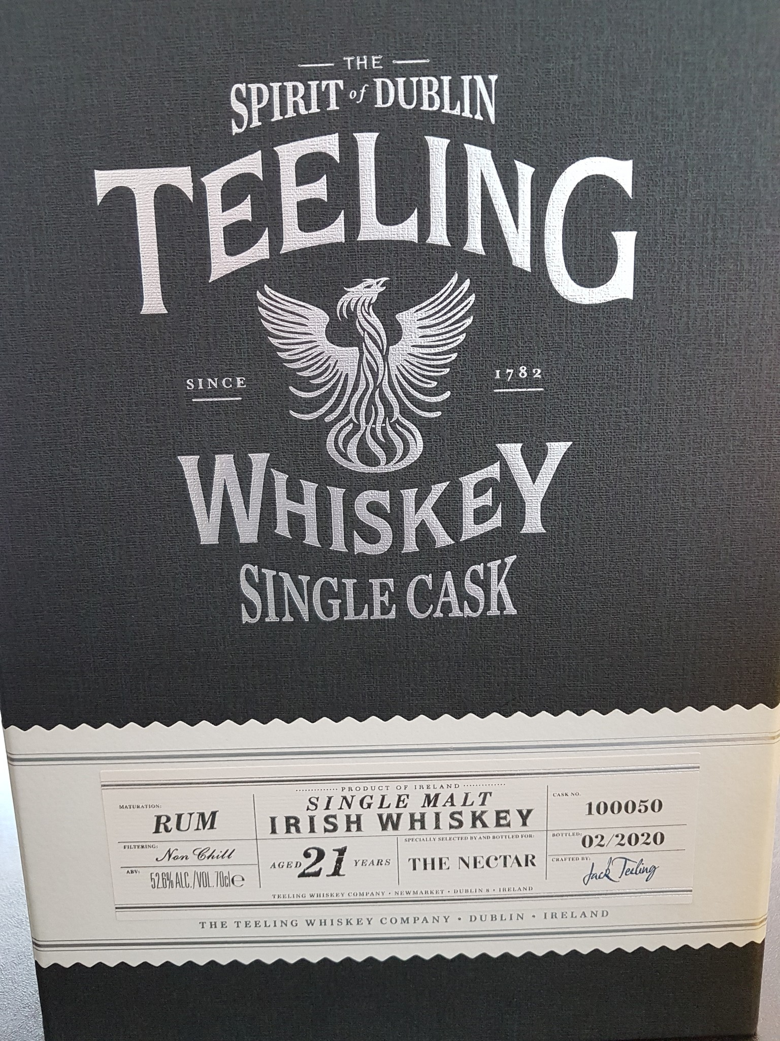 TEELING 21Y 1999-2002 RUMCASK 52.6%  FOR THE NECTAR