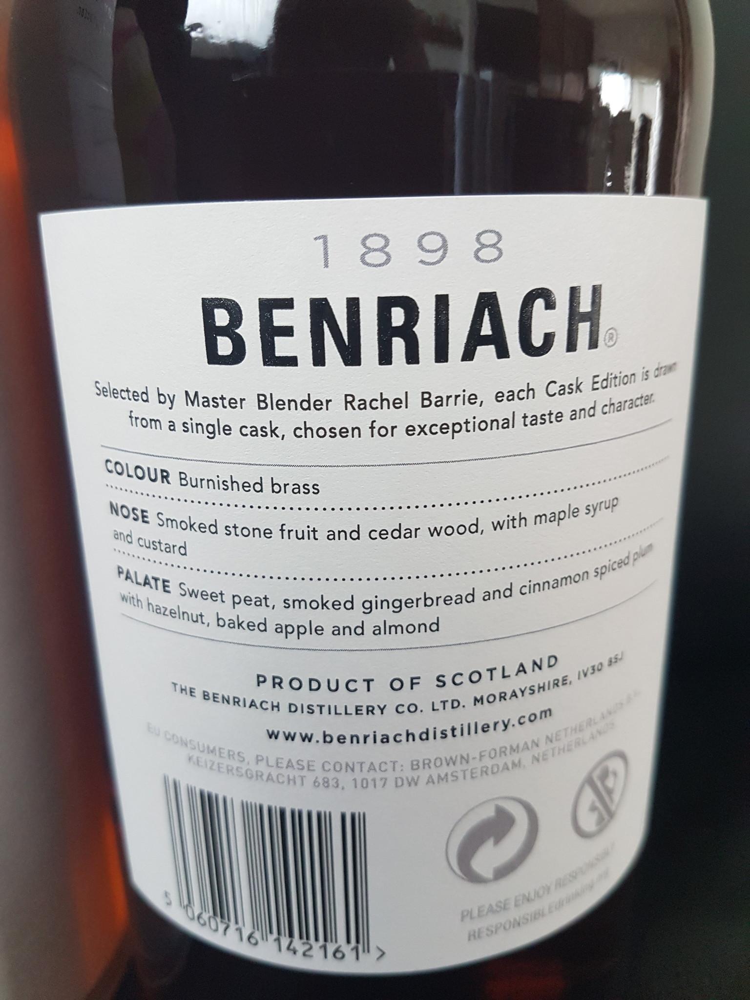 Original Distillery Bottling Benriach 12Y 2008-2020  cask edition pedro ximénez puncheon 60.5%