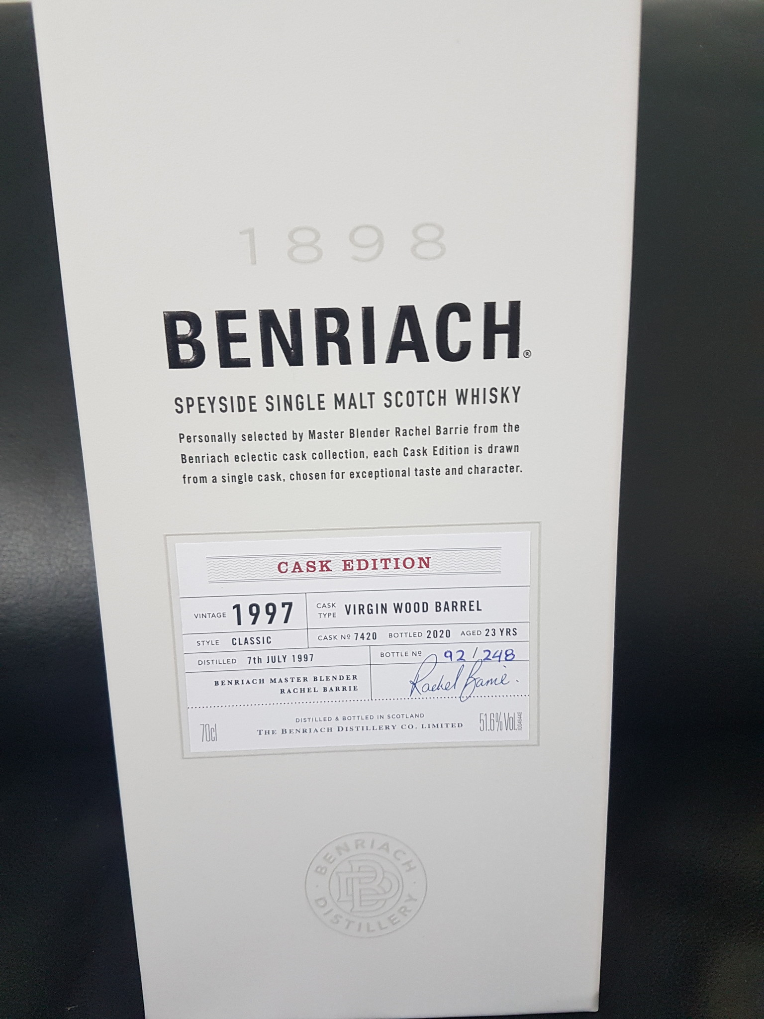 Original Distillery Bottling Benriach 23Y 1997-2020 virgin wood barrel 51.6%