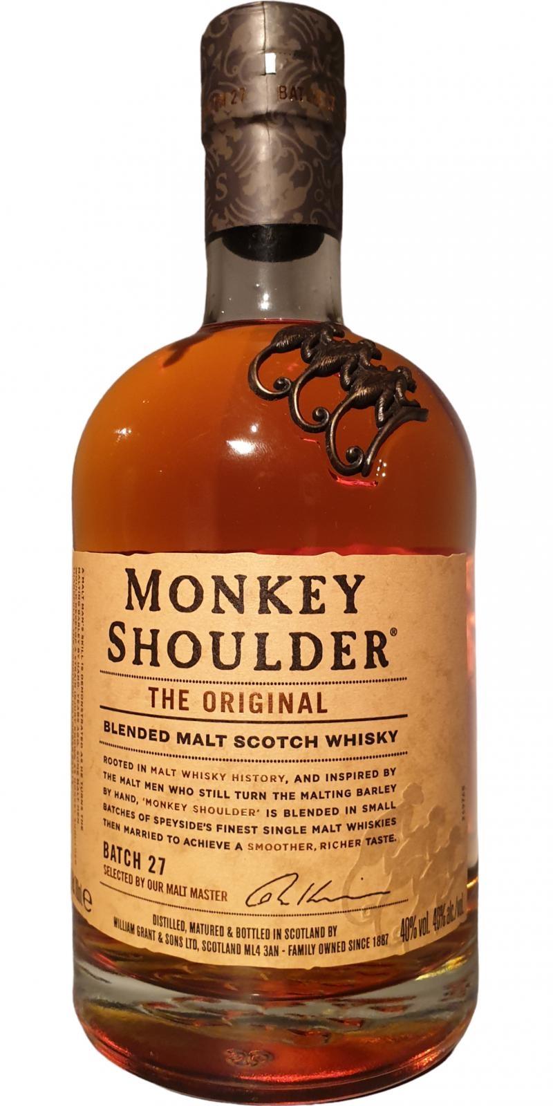 Original Distillery Bottling Monkey Shoulder blended malt Scoth whisky 40% batch27