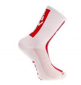 Fietssokken lang cabrera wit/rood