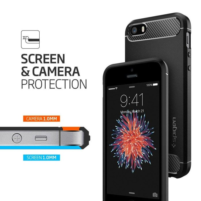 iPhone SE/5S/5 Case Rugged Armor - Black
