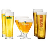 6 Pack Glasses: 2 Heineken, 2 Desperados, 2 Affligem Glasses