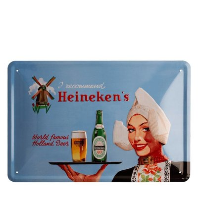 Heineken Retro metal bar sign - Dutch Farm Girl  (20 x 30cm)