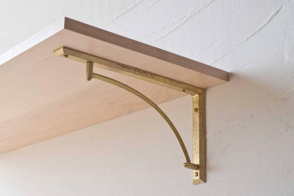 Delicieux Futagami Matureware Brass Curved Shelf Bracket L (set Of 2)