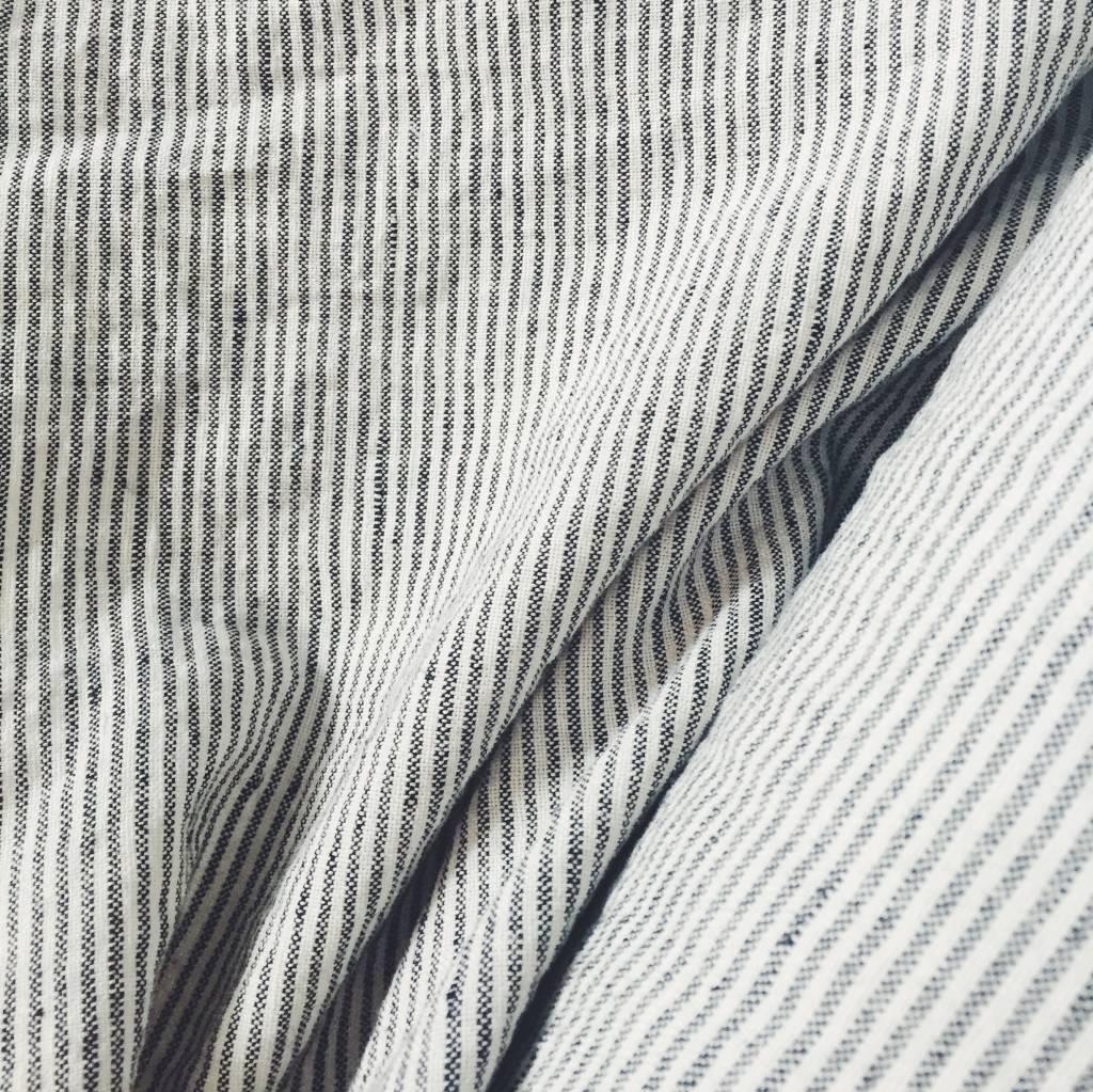 Black and White striped Linen/Cotton Fabric